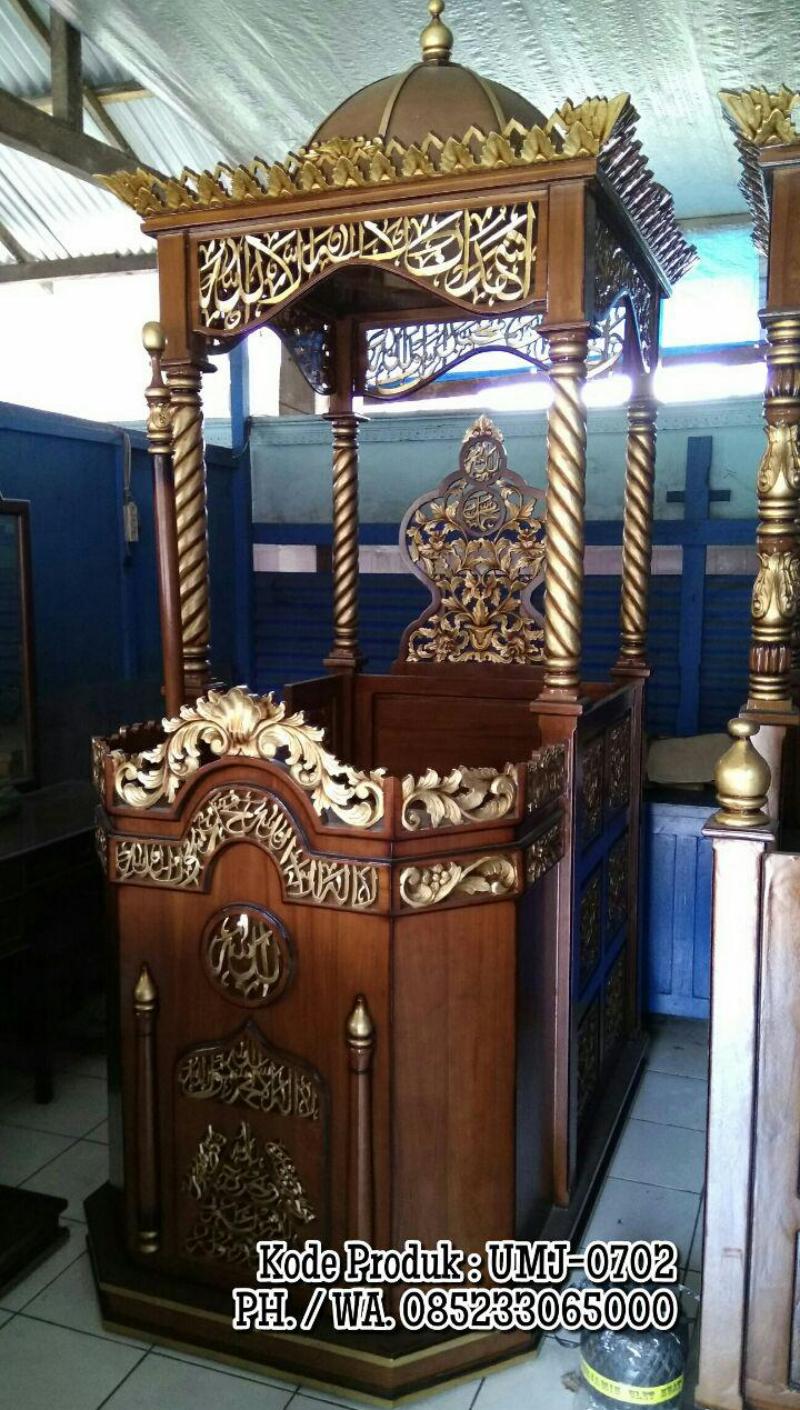 Podium Mimbar Atap Kubah Masjid Raya Ukiran Jati Jepara