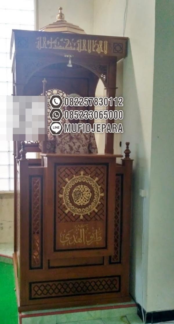 Mimbar Jati Ornamen CNC Masjid Agung Blitar