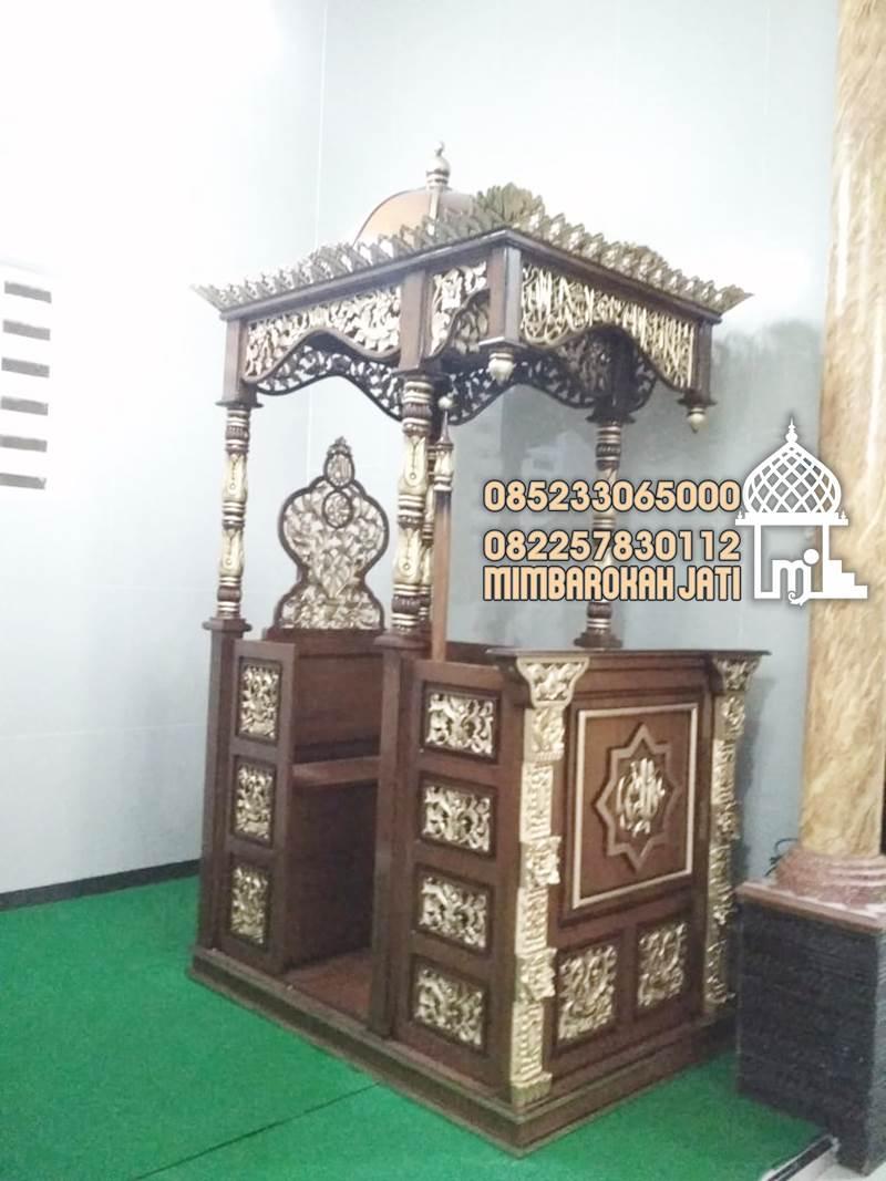 Mimbar Minimalis Ornamen CNC Masjid Wilayah Bojonegoro