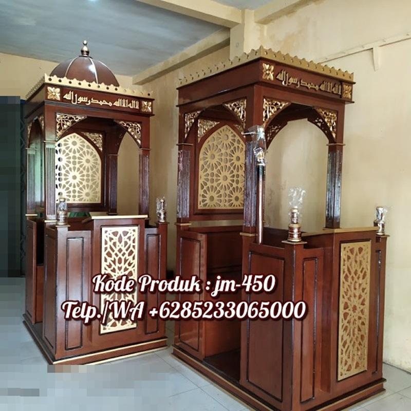 Mimbar Podium Ornamen Arabic Masjid Besar Kediri Mimbar Atap Kubah Minimalis JM-450