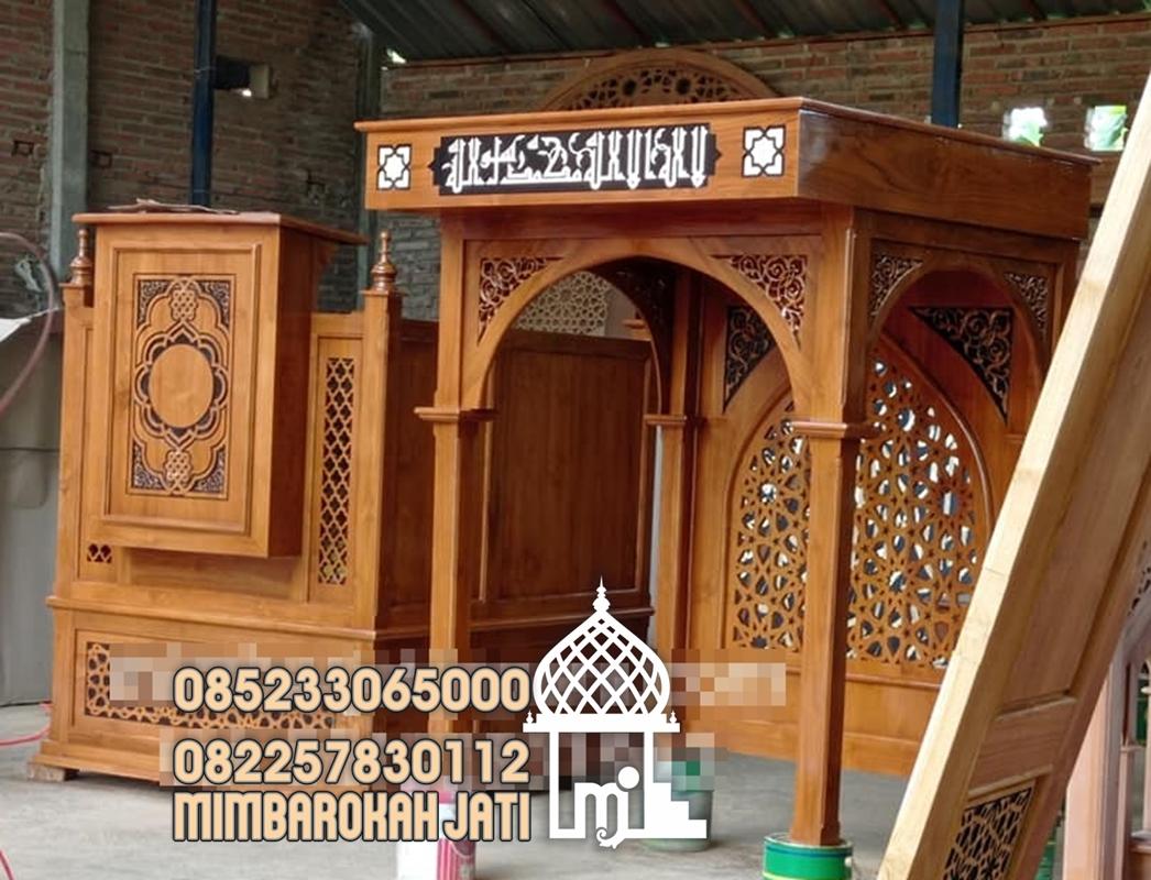 Mimbar Podium Ornamen CNC Masjid Besar Bantul