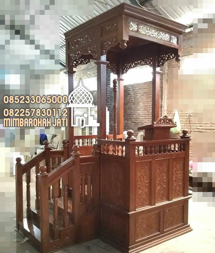Mimbar Podium Ornamen CNC Masjid Besar Bondowoso Mimbar Masjid Ukiran Jepara