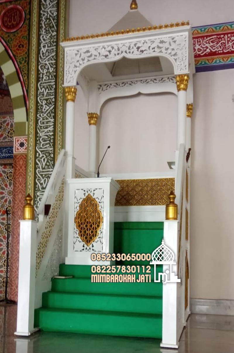 Mimbar Sunnah Ornamen CNC Masjid Wilayah Ponorogo,bentuk mimbar masjid sesuai sunnah, bentuk mimbar,bentuk mimbar masjid,bentuk mimbar sesuai sunnah, mimbar rasulullah, tongkat mimbar, perbedaan mimbar dan mihrab, hadits tentang mimbar, tinggi mimbar, posisi tongkat saat khutbah