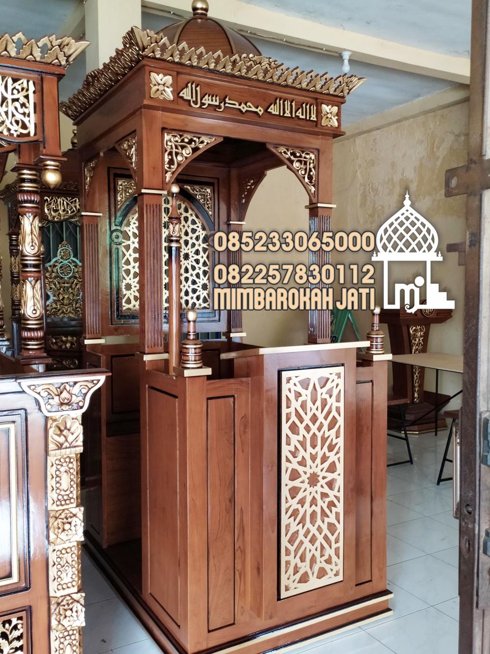 Podium Mimbar Ornamen CNC Masjid Kota Brebes