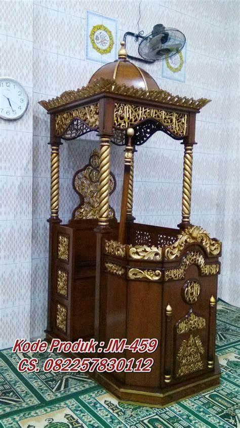 Podium Mimbar Ornamen Ukiran Masjid Agung Sidoarjo