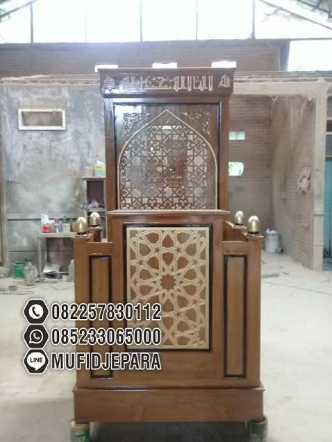 Mimbar Jati Ornamen Arabic Masjid Kota Temanggung