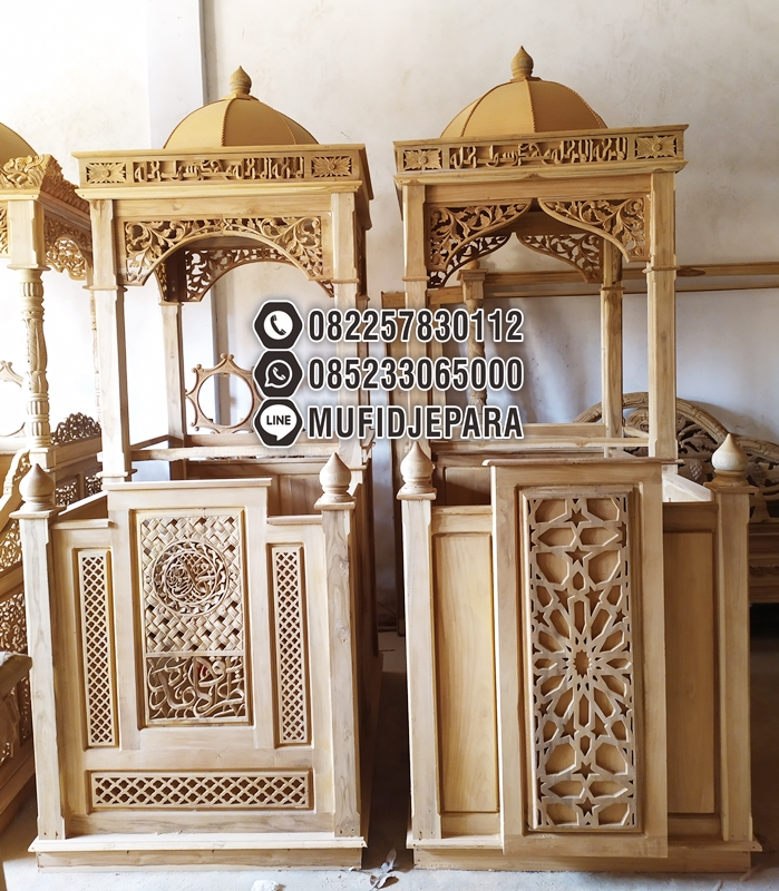 Mimbar Jati Ornamen CNC Masjid Daerah Trenggalek