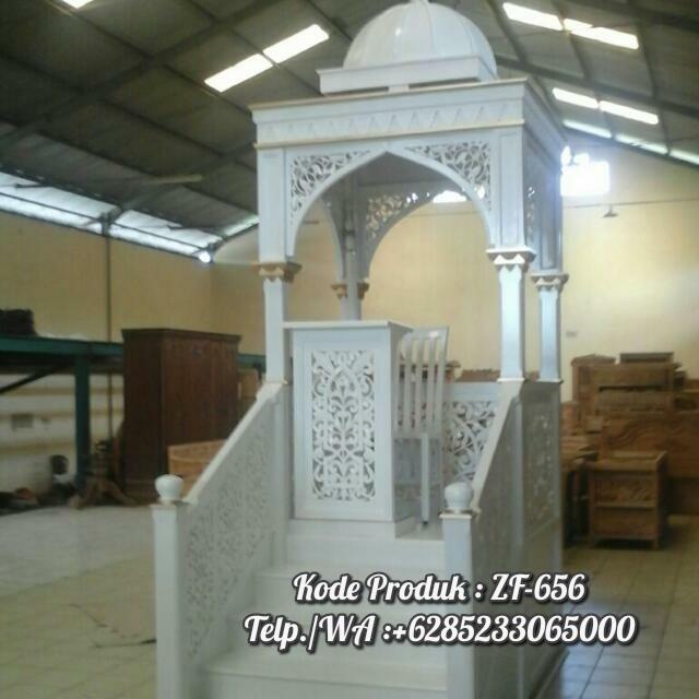 Mimbar Jati Ornamen GRC Masjid Besar Cikarang