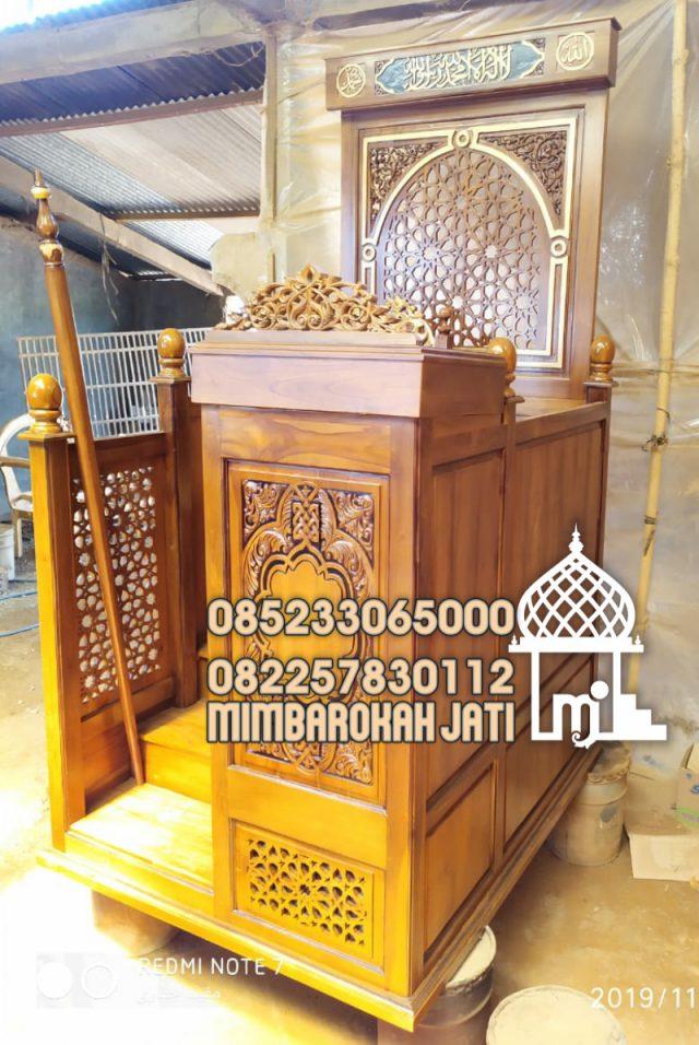 Mimbar Jati Ornamen GRC Masjid Besar Tangerang Selatan