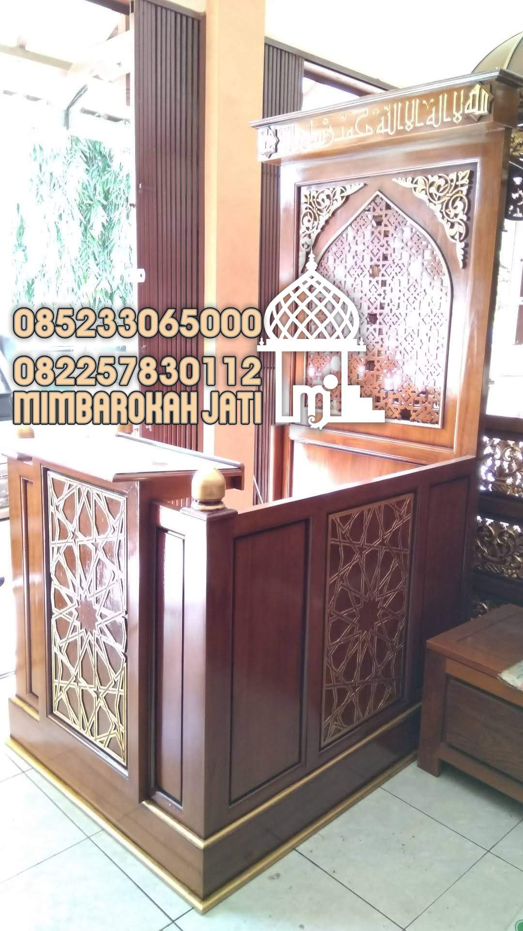 Mimbar Jepara Ornamen CNC Masjid Daerah Pontianak