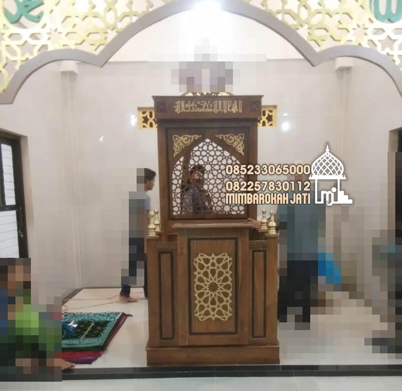Mimbar Minimalis Ornamen Arabic Masjid Daerah Sampang