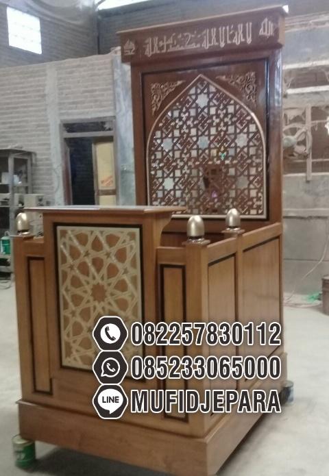 Mimbar Minimalis Ornamen CNC Masjid Wilayah Sidoarjo Mimbar Jati Minimalis