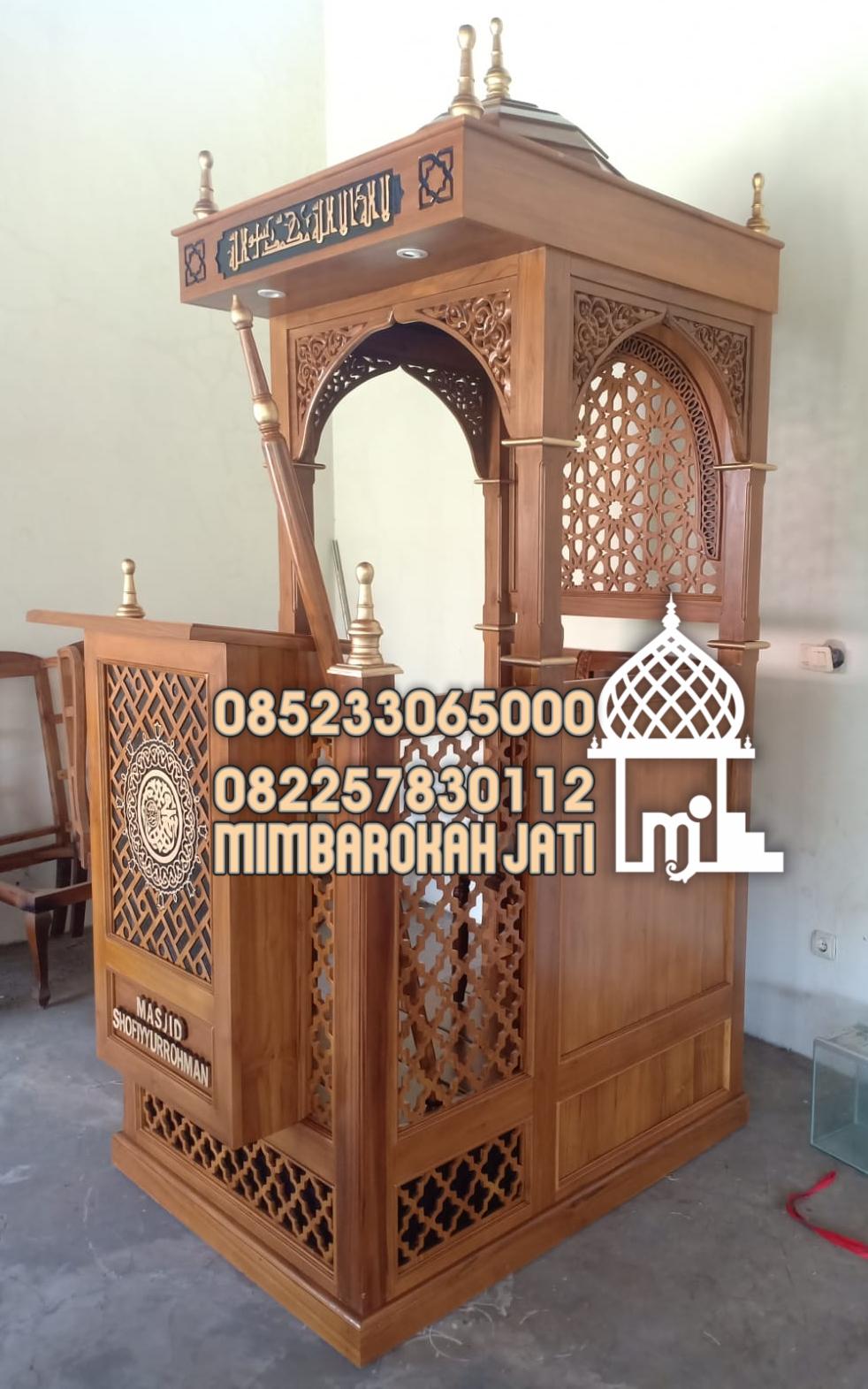 Mimbar Jepara Ornamen CNC Masjid Kota Cibinong