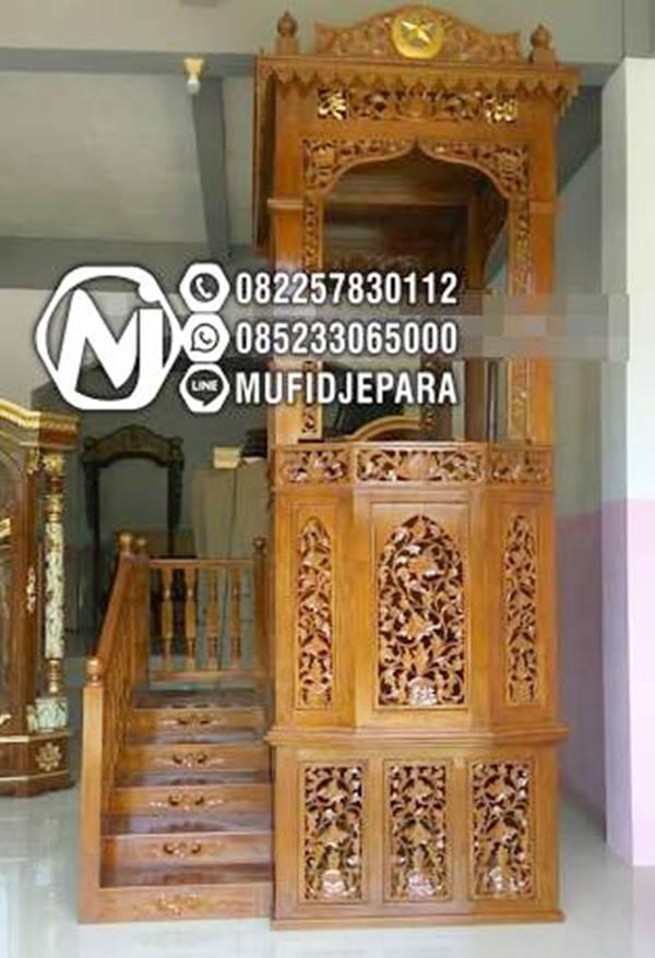 Mimbar Jepara Ornamen Ukiran Masjid Besar Karawang