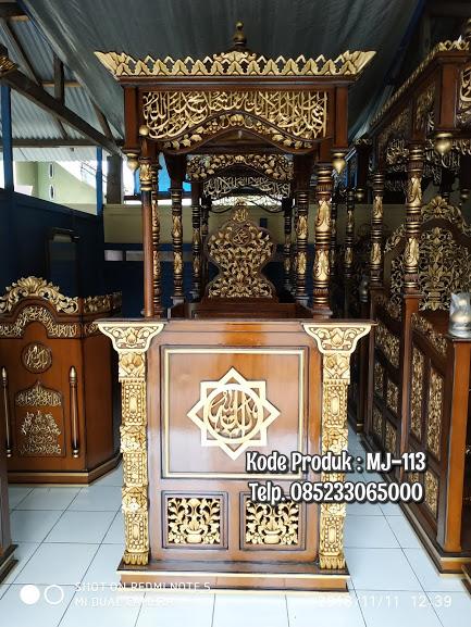 Podium Mimbar Kayu Ornamen Ukiran Masjid Agung Madiun
