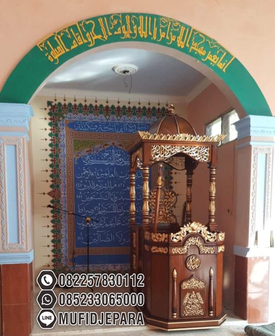 Mimbar Podium Kayu Ornamen Ukiran Masjid Wilayah Tulungagung