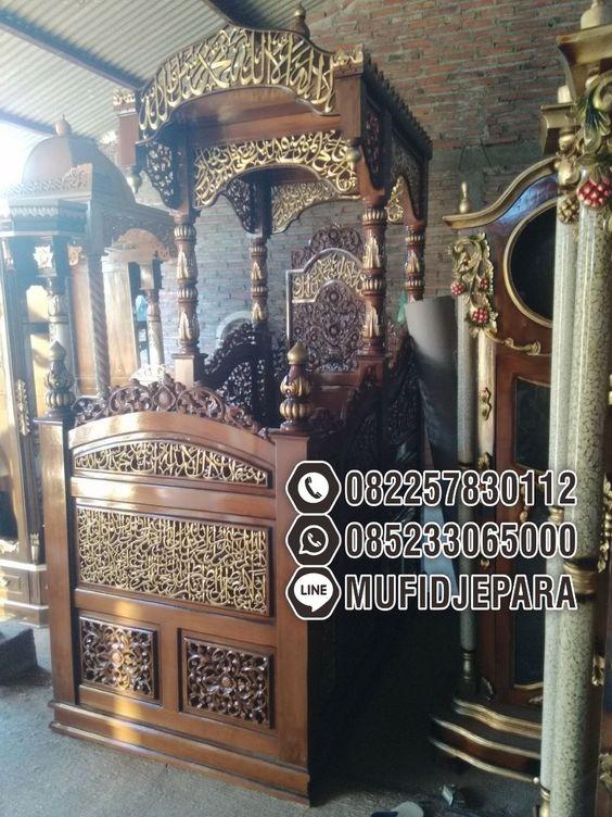Podium Mimbar Ornamen Ukiran Masjid Kota Lombok Barat